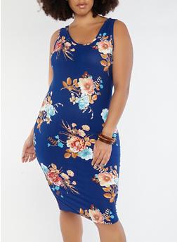 Plus Size Floral Midi Tank Dress - 1390051066477