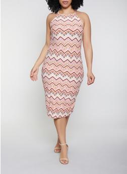 Plus Size Printed Tank Midi Dress - 1390051066946