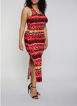 Plus Size Side Slit Printed Tank Maxi Dress - 1390051066954