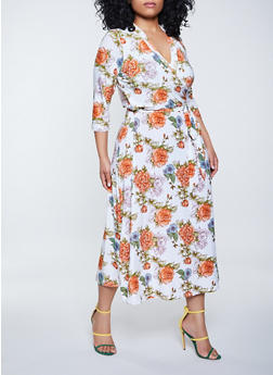 Plus Size Tie Waist Faux Wrap Floral Maxi Dress - 1390051067349