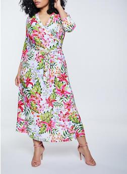 Plus Size Faux Wrap Tie Waist Floral Maxi Dress - 1390051068349