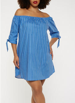 Plus Size Striped Off the Shoulder Dress - 1390054260438