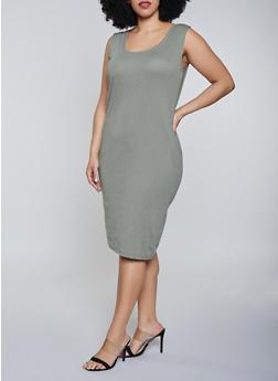 41ee1ac1d Plus Size Rib Knit Tank Midi Dress - 1390054266277