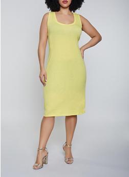 Plus Size Rib Knit Tank Midi Dress - 1390054266277
