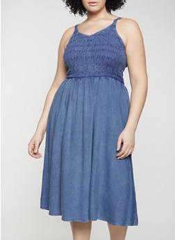 Plus Size Smocked Chambray Cami Dress - 1390056120003