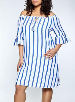 Plus Size Off the Shoulder Striped Shift Dress - 1390056120190