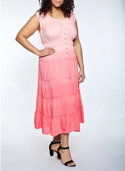 Plus Size Ombre Maxi Dress - 1390056120242