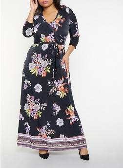 Plus Size Floral Faux Wrap Maxi Dress - 1390056121424