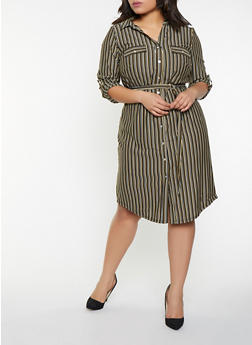 Plus Size Striped Shirt Dress - 1390056121428