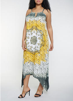 Plus Size Metallic Keyhole Printed Maxi Dress - 1390056121455