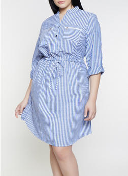 Plus Size Striped Half Button Dress - 1390056121480