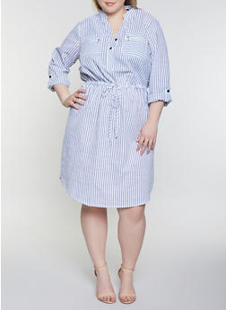 Plus Size Striped Half Button Dress - 1390056121481