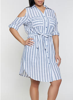 Plus Size Striped Cold Shoulder Shirt Dress - 1390056121482