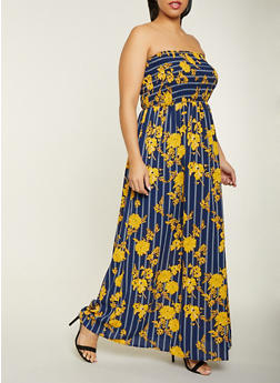 Plus Size Striped Floral Tube Maxi Dress - 1390056121486