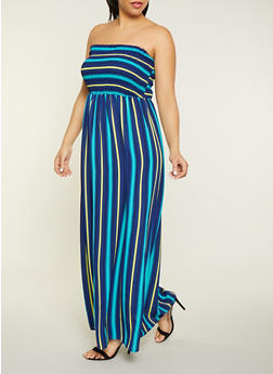 Plus Size Striped Smocked Tube Maxi Dress - 1390056121487