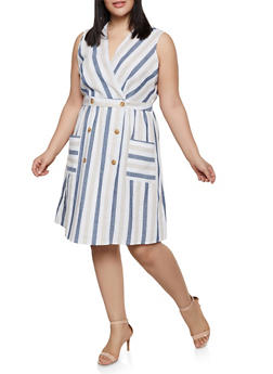 Plus Size Striped Linen Wrap Dress - 1390056121501