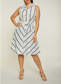 Plus Size Sleeveless Striped Half Button Dress - 1390056121503
