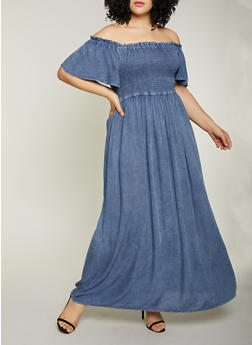 Plus Size Off the Shoulder Chambray Maxi Dress - 1390056121527