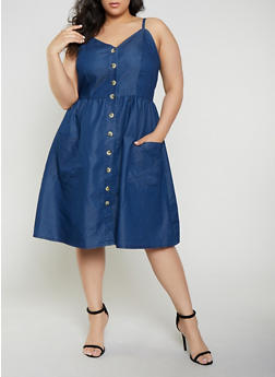 Plus Size Button Front Denim Skater Dress - 1390056121531
