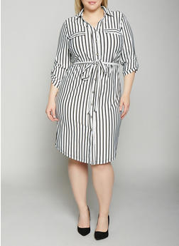 Plus Size Striped Shirt Dress | Black and White - 1390056121621