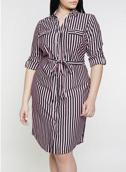 Plus Size Striped Long Sleeve Shirt Dress - 1390056121624