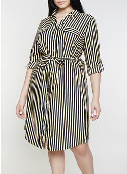 Plus Size Striped Long Sleeve Shirt Dress - Multi - Size 1X - 1390056121624