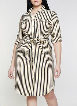 Plus Size Button Front Striped Shirt Dress - 1390056121625