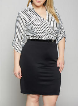 Plus Size Striped Faux Wrap Belted Dress - 1390056121627