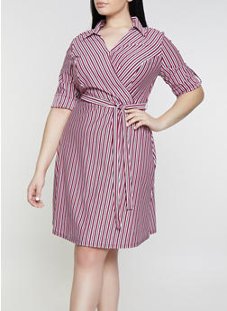Plus Size Striped Faux Wrap Shirt Dress - 1390056121628