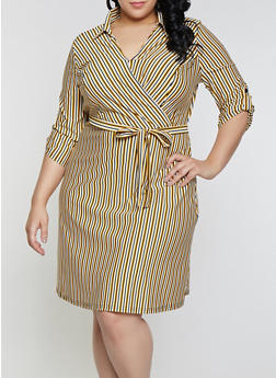 Plus Size Striped Faux Wrap Shirt Dress - 1390056121628