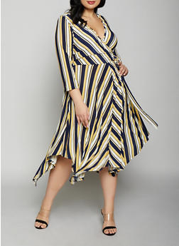 Plus Size Striped Tie Front Faux Wrap Dress - 1390056121629