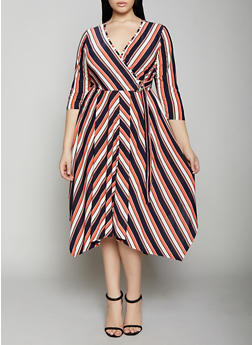 Plus Size Striped Tie Front Faux Wrap Dress - 1390056121629