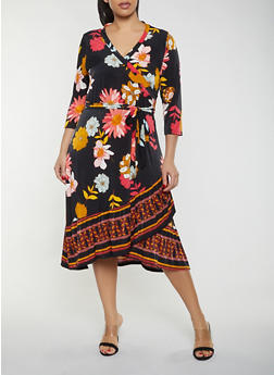 Plus Size Floral Faux Wrap Dress - 1390056121633