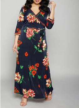 Plus Size Floral Faux Wrap Maxi Dress - 1390056121634