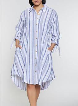 Plus Size Striped Tie Sleeve Shirt Dress - 1390056121636