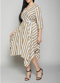 Plus Size Striped Asymmetrical Hem Faux Wrap Dress - 1390056121659