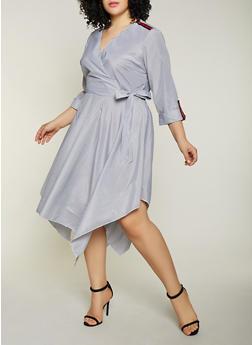 Plus Size Stripe Tape Faux Wrap Dress - Multi - Size 1X - 1390056121661