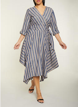 Plus Size Tie Waist Striped Faux Wrap Dress - 1390056121664