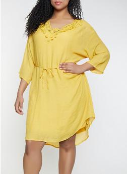 Plus Size Crochet Tassel Trim Dress - 1390056121666