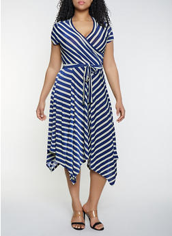 Plus Size Faux Wrap Asymmetrical Midi Dress - 1390056121707