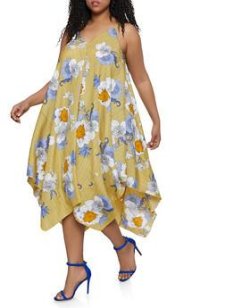 Plus Size Floral Striped Asymmetrical Trapeze Dress - 1390056121746