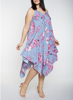 Plus Size Asymmetrical Floral Print Dress - 1390056121747
