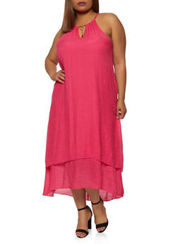 Plus Size Tiered High Low Dress - 1390056121814