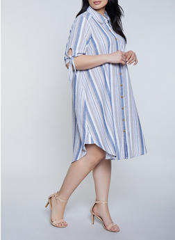 Plus Size Striped Tie Sleeve Shirt Dress | 1390056121839 - 1390056121839