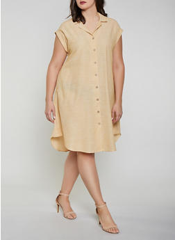 Plus Size Striped Linen Button Front Dress - 1390056121881