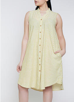 Plus Size Striped Linen Shirt Dress | 1390056121882 - 1390056121882