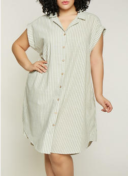 Plus Size Striped Linen Shirt Dress | 1390056121890 - Green - Size 1X - 1390056121890