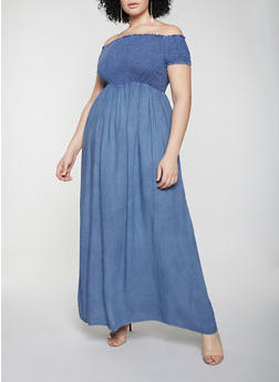 Plus Size Off the Shoulder Smocked Maxi Dress - 1390056122042
