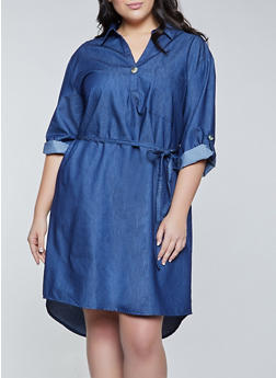 Plus Size Tie Waist Collared Denim Dress - 1390056122046