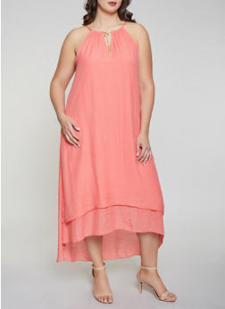 Plus Size Gauze Knit High Low Dress - 1390056124024